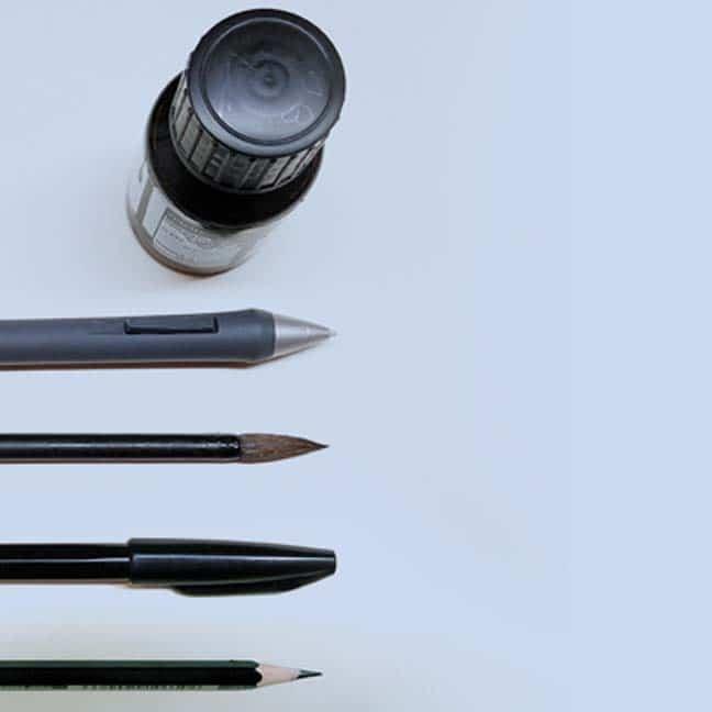 Meine Werkzeuge: Kopf, Hand, Bleistift, Tuschepinsel, digital