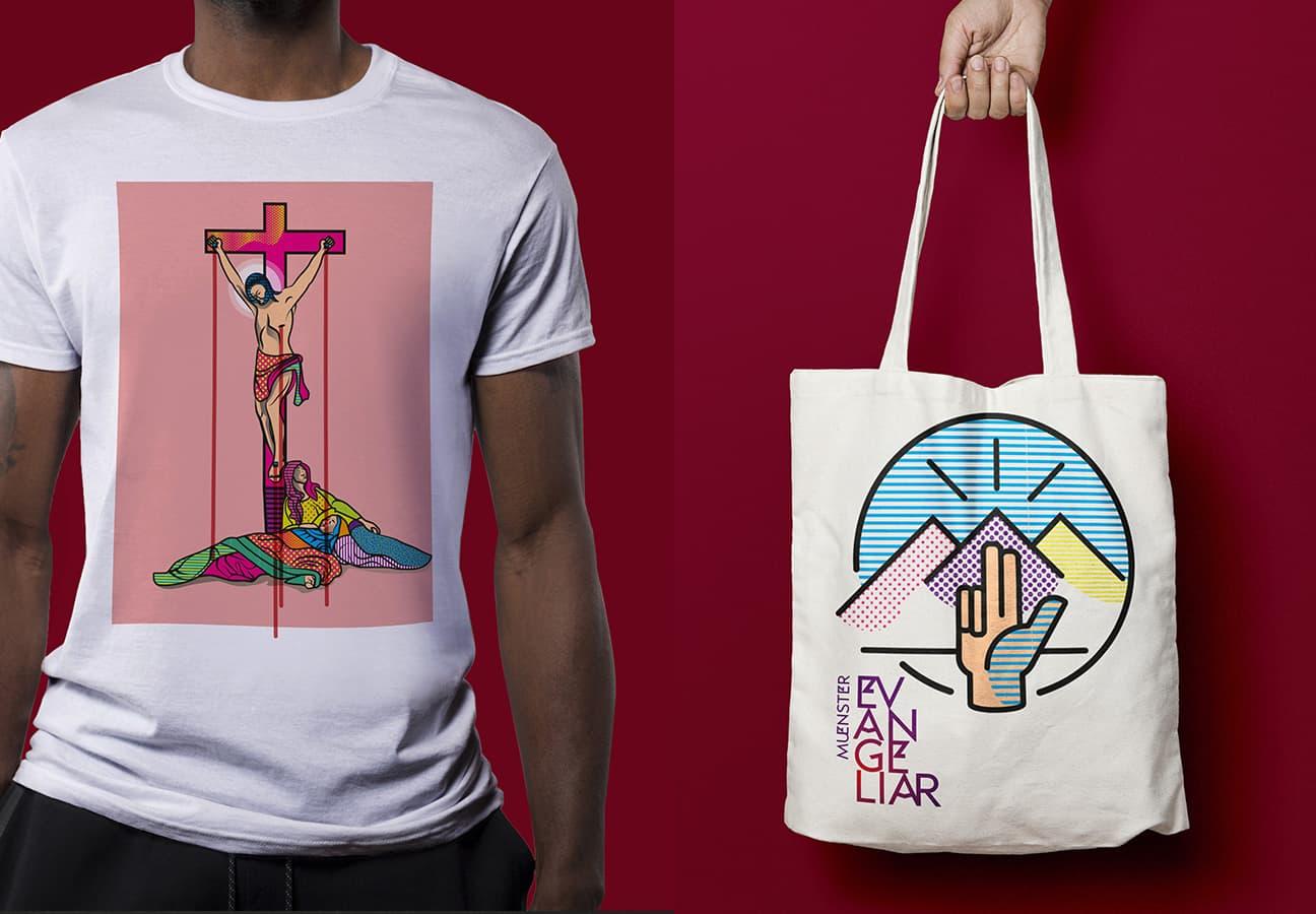 Münster Evangeliar Apperel –T-Shirt mit Kreuzigungsmotiv und Tasche mit Bergpredigt Icon sowie Wortmarke