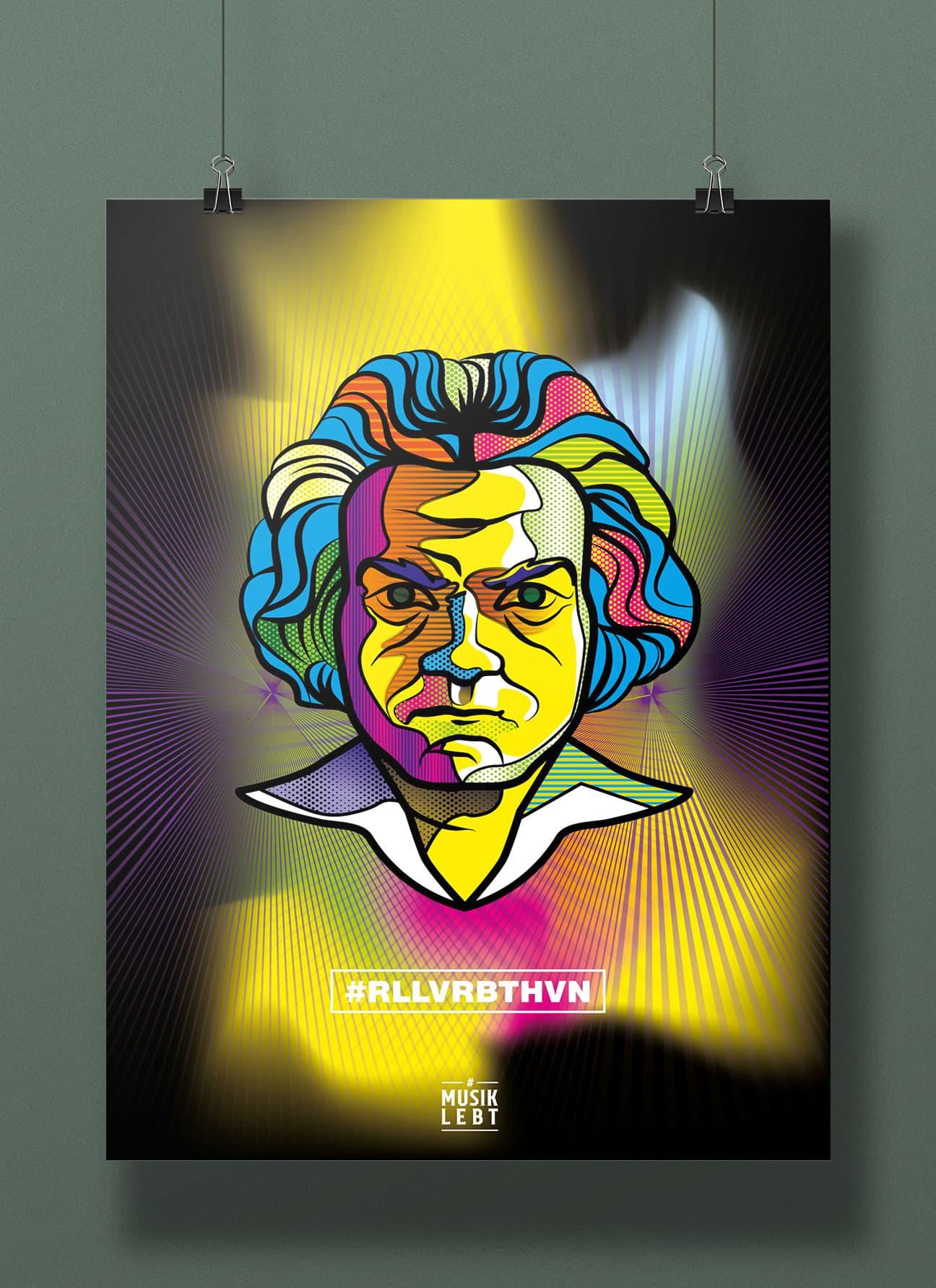 Poster-Entwurf: Portrait von Ludwig van Beethoven. 2020 jährt sich der Geburtstag des kongenialen Pianisten und Komponisten zum 250. Mal. Roll over Beethoven!
