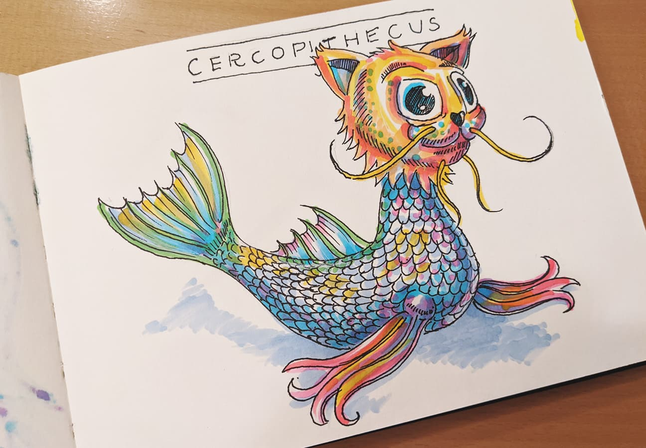 #14 Cercopithecus, Meerkatze, kathisart style takeover, coronadoodles @indigraphpen, @stylefile_marker, coronadoodles to be continued