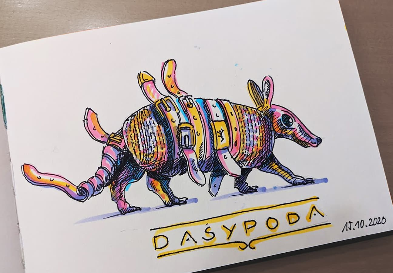 #15 Dasypoda, Gürteltier, @indigraphpen, @stylefile_marker, coronadoodles to be continued